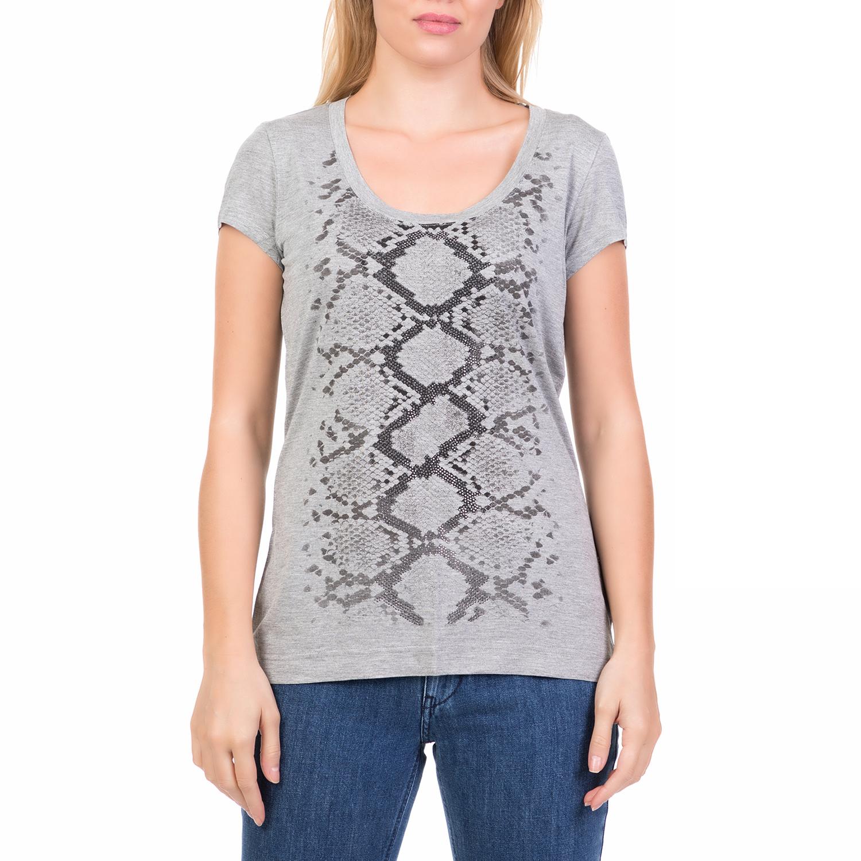 c736c1f1f787 CALVIN KLEIN JEANS – Γυναικεία κοντομάνικη μπλούζα ANIMAL FRONT PANEL CALVIN  KLEIN JEANS γκρι