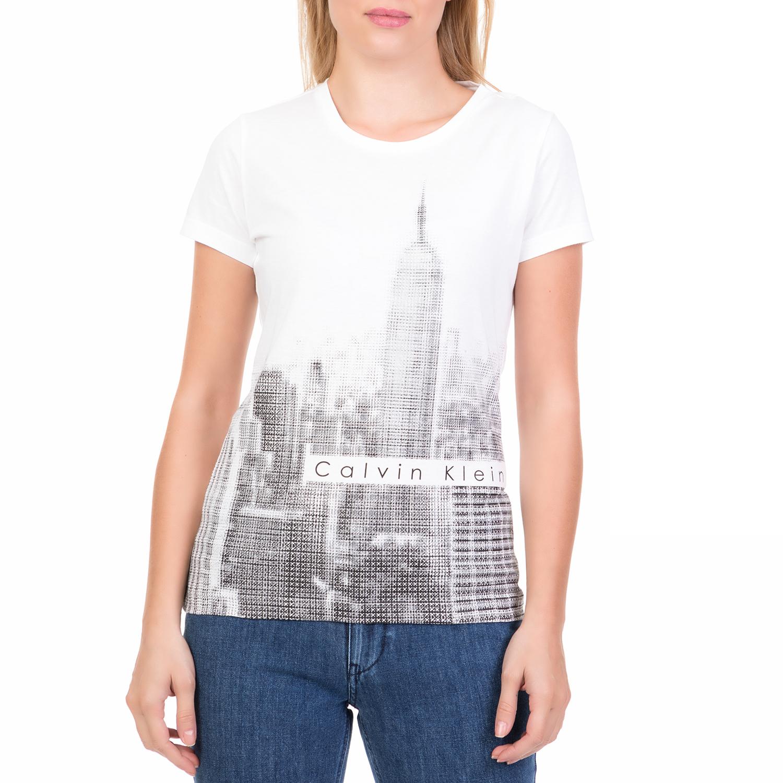 4d39c91c3fe CALVIN KLEIN JEANS – Γυναικεία κοντομάνικη μπλούζα OFF FOCUS SKY LINE CALVIN  KLEIN JEANS λευκή