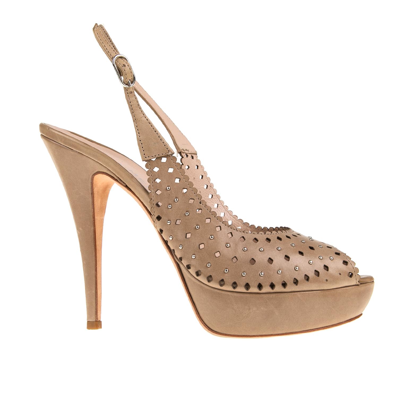 PERLAMODA - Γυναικείες peep toe γόβες PERLAMODA καφέ με σχέδιο γυναικεία παπούτσια γόβες