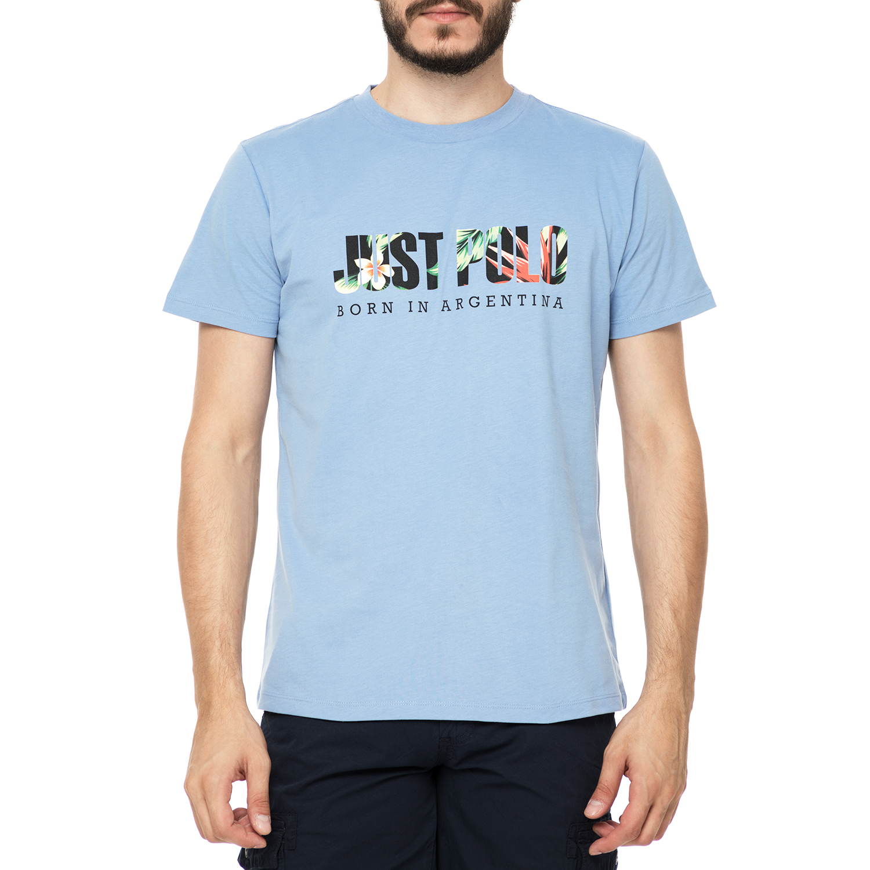 4cf6f899249c JUST POLO - Ανδρικό t-shirt JUST POLO HAWAII γαλάζια με στάμπα