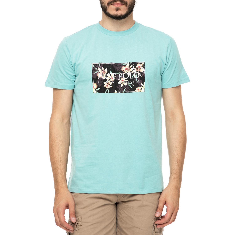 JUST POLO - Ανδρικό t-shirt JUST POLO HAWAII γαλάζια με στάμπα 9bfefaa9d61