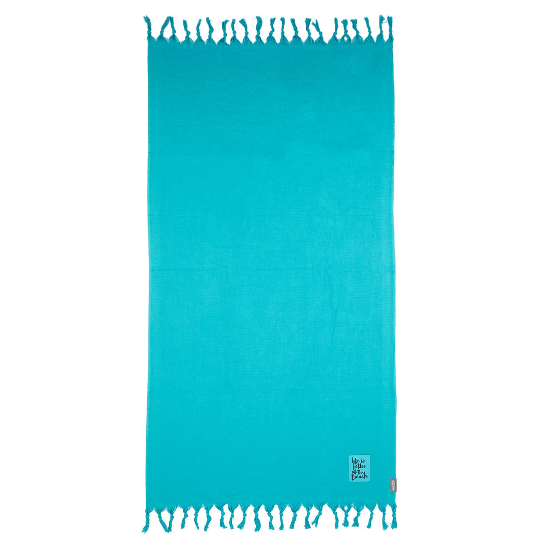 JUST POLO - Unisex πετσέτα θαλάσσης - παρεό JUST POLO πετρόλ γυναικεία αξεσουάρ πετσέτες
