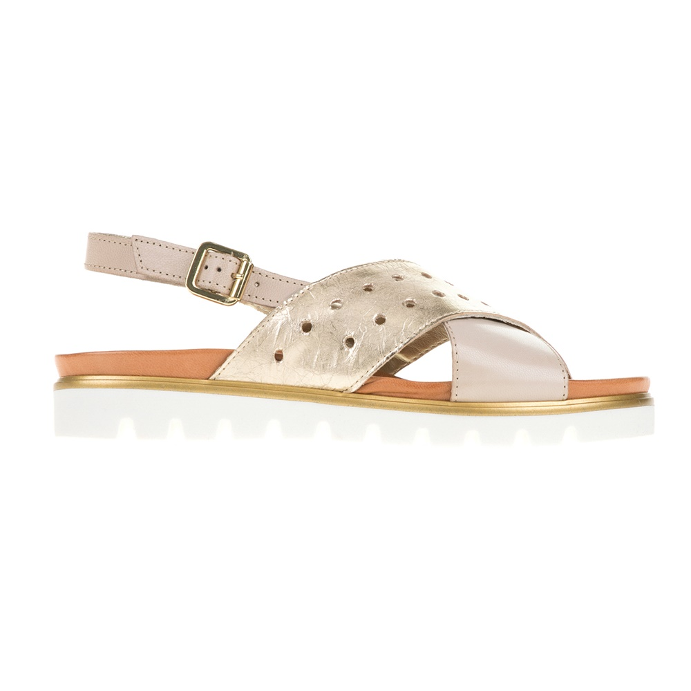 MARIO PONTI - Γυναικεία πέδιλα με χιαστί σχέδιο MARIO PONTI μπεζ-χρυσά γυναικεία παπούτσια πέδιλα φλατ