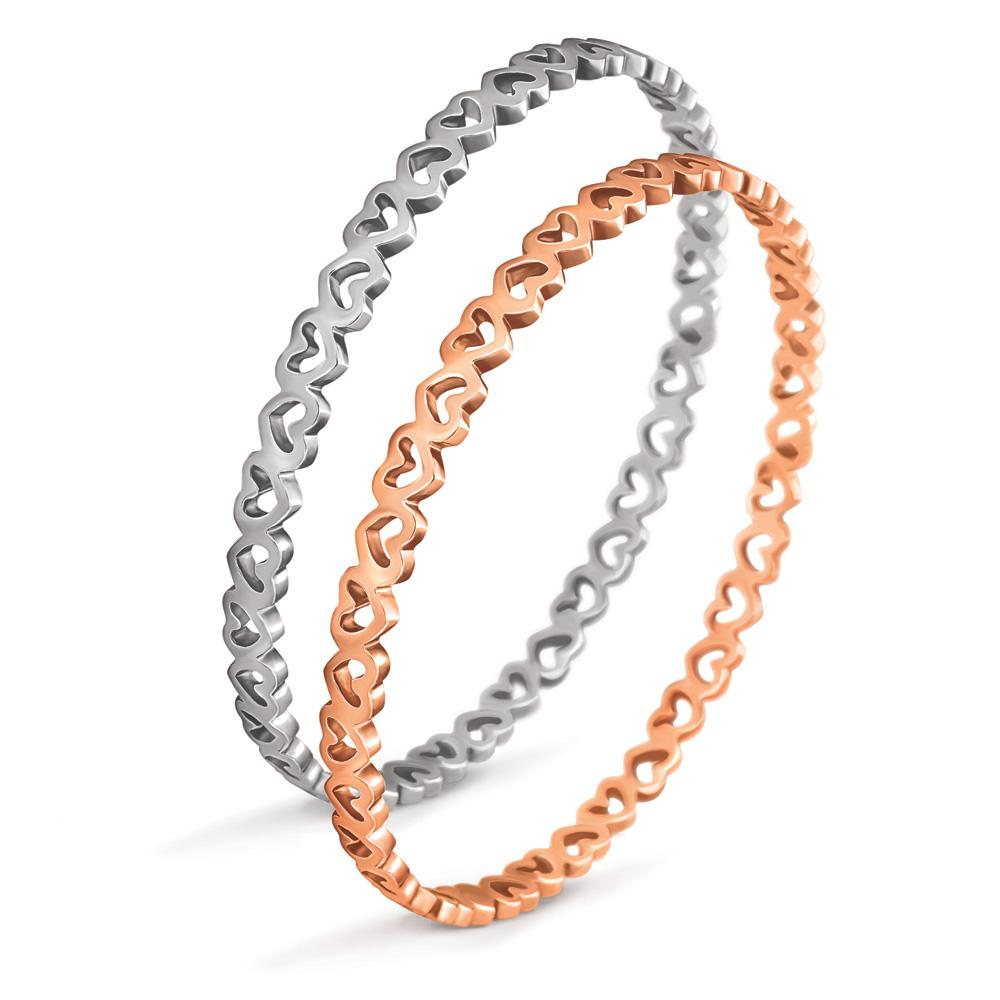 FOLLI FOLLIE - Σετ από 2 σταθερά βραχιόλια με καρδιές LOVE&FORTUNE ασημί & επιχρ γυναικεία αξεσουάρ κοσμήματα βραχιόλια