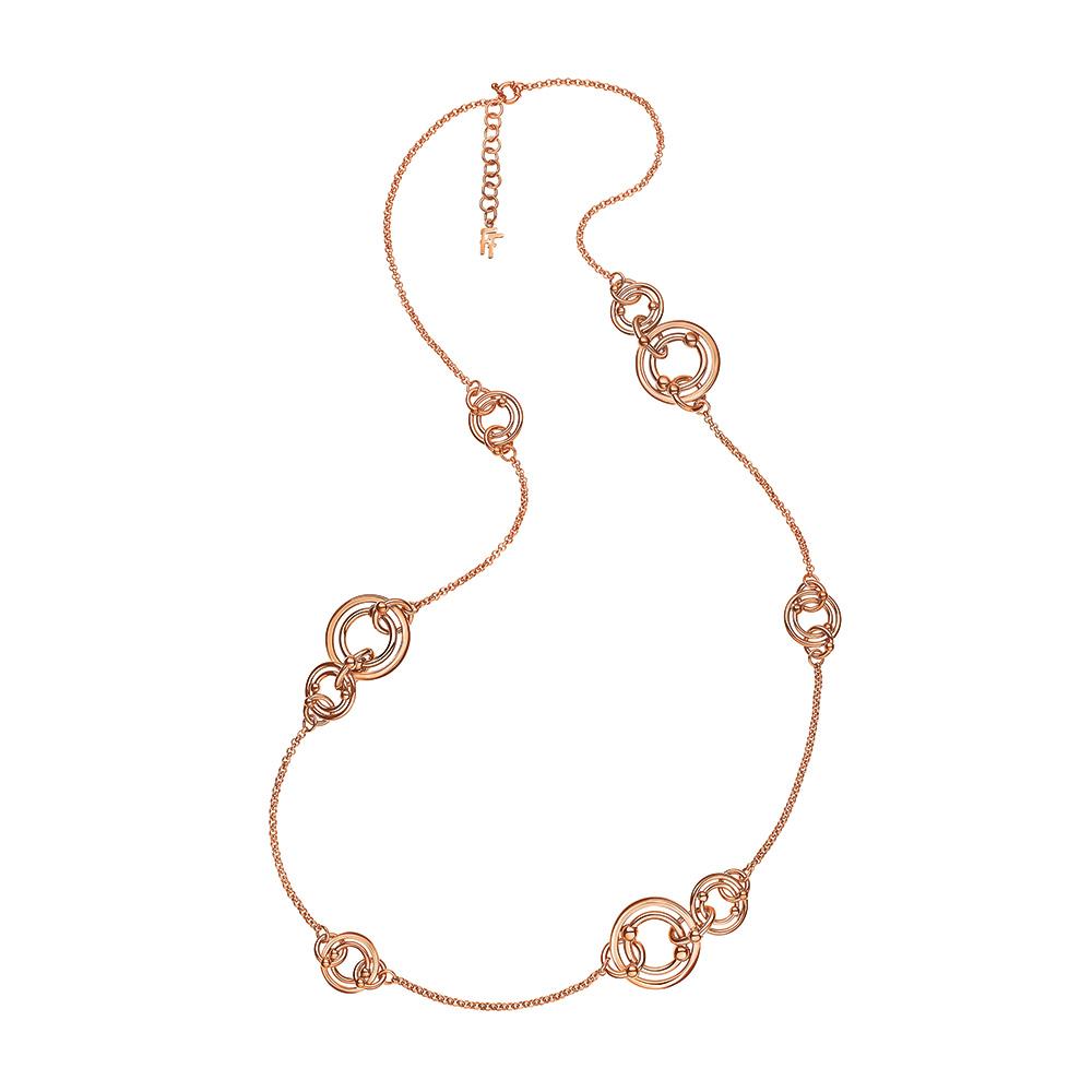 FOLLI FOLLIE - Γυναικείο μακρύ κολιέ με κρίκους FOLLI FOLLIE BONDS ροζ-χρυσό γυναικεία αξεσουάρ κοσμήματα κολιέ