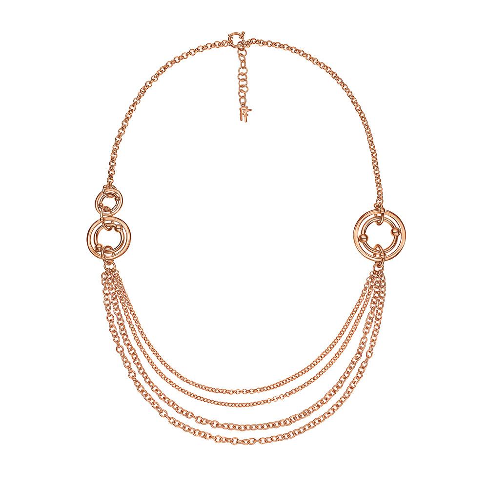 FOLLI FOLLIE - Γυναικείο μακρύ κολιέ με κρίκους FOLLI FOLLIE BONDS επιχρυσωμένο  γυναικεία αξεσουάρ κοσμήματα κολιέ