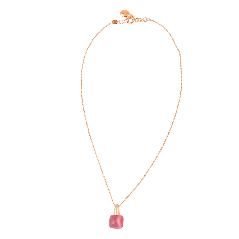 FOLLI FOLLIE – Γυναικείο επιχρυσωμένο κολιέ FOLLI FOLLIE ροζ με κόκκινη  πέτρα f07b94615aa