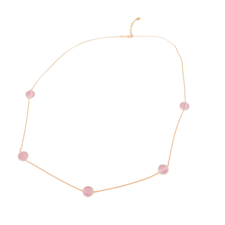 FOLLI FOLLIE - Γυναικείο επιχρυσωμένο κολιέ FOLLI FOLLIE με ροζ πέτρες και ζιργκόν