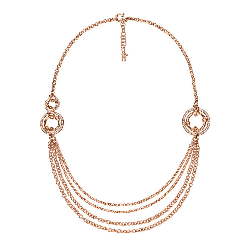 FOLLI FOLLIE - Γυναικείο μακρύ κολιέ με κρίκους & κρυστάλλινες πέτρες BONDS επιχρυσωμένο ροζ