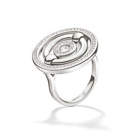 FOLLI FOLLIE. Γυναικείο επάργυρο μικρό δαχτυλίδι με κύκλους   κρυστάλλινες  πέτρες BONDS ασημί 261f25cdf6d