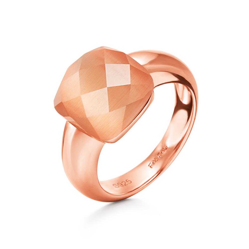 FOLLI FOLLIE - Γυναικείο επίχρυσο δαχτυλίδι DREAMY με τετράγωνη σαμπανί πέτρα
