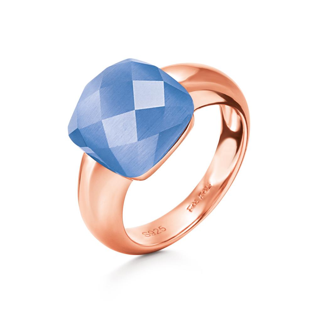 FOLLI FOLLIE - Γυναικείο επίχρυσο δαχτυλίδι DREAMY με τετράγωνη μπλε πέτρα γυναικεία αξεσουάρ κοσμήματα δαχτυλίδια
