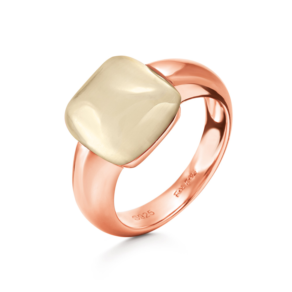 FOLLI FOLLIE - Γυναικείο επίχρυσο δαχτυλίδι DREAMY με τετράγωνη ιβουάρ πέτρα