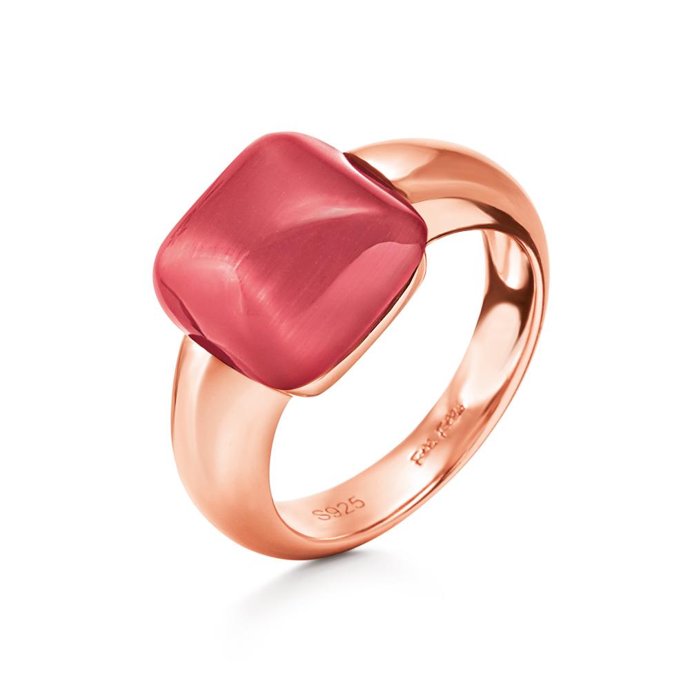 FOLLI FOLLIE - Γυναικείο επίχρυσο δαχτυλίδι DREAMY με τετράγωνη κόκκινη πέτρα