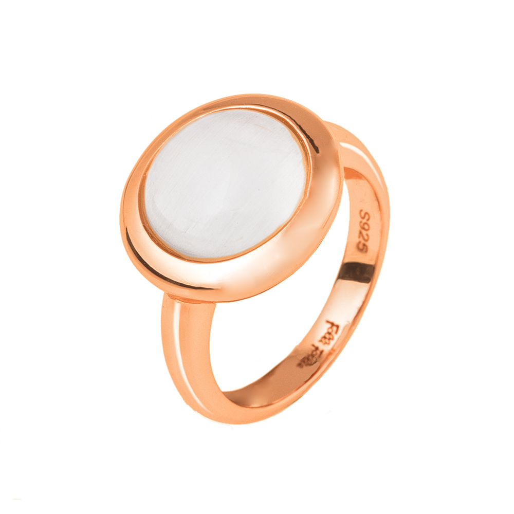 FOLLI FOLLIE – Γυναικείο επιχρυσωμένο δαχτυλίδι FOLLI FOLLIE ροζ με λευκή  πέτρα. Factory Outlet 548cd82de54