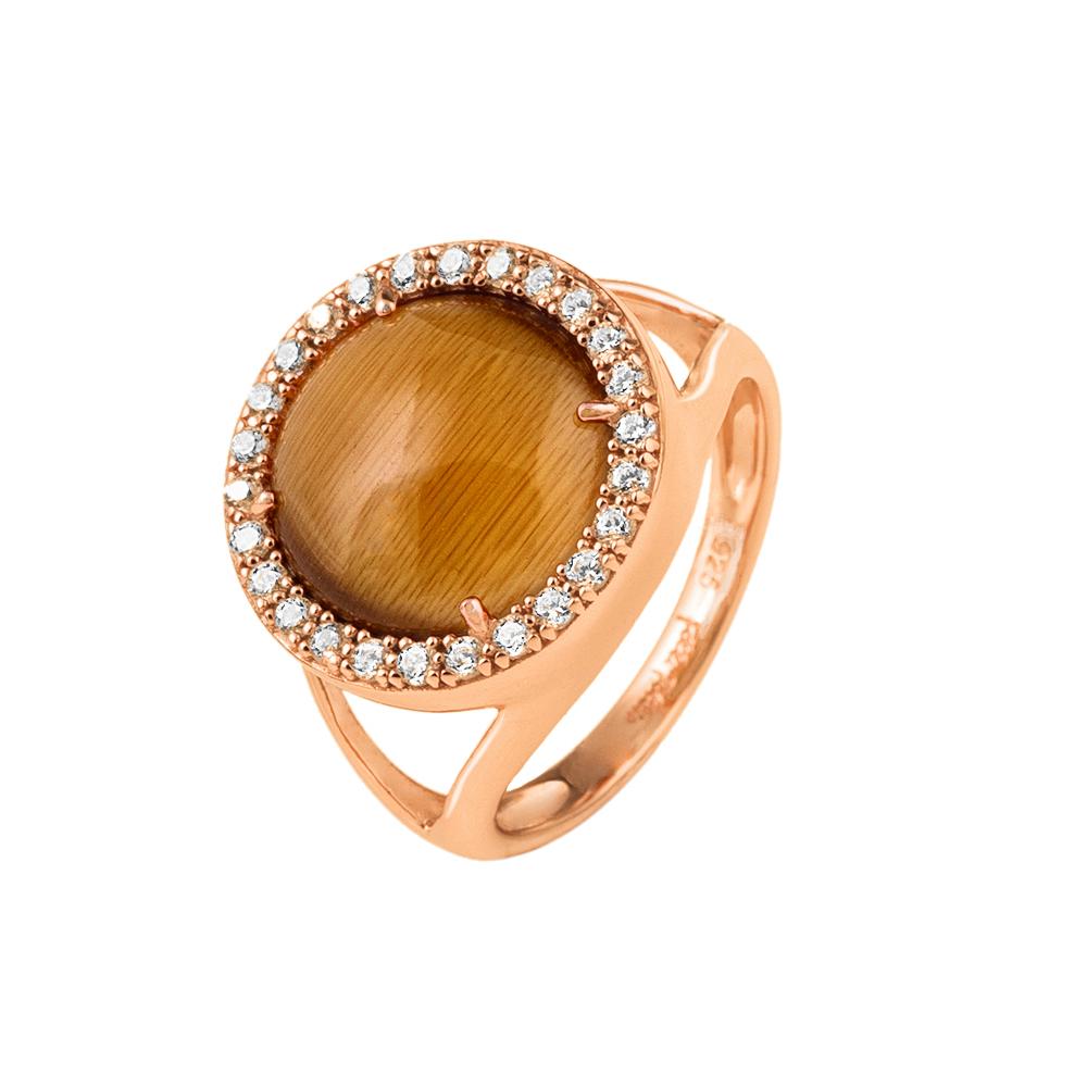 FOLLI FOLLIE - Γυναικείο επιχρυσωμένο δαχτυλίδι FOLLI FOLLIE με καφέ πέτρα και ζ γυναικεία αξεσουάρ κοσμήματα δαχτυλίδια