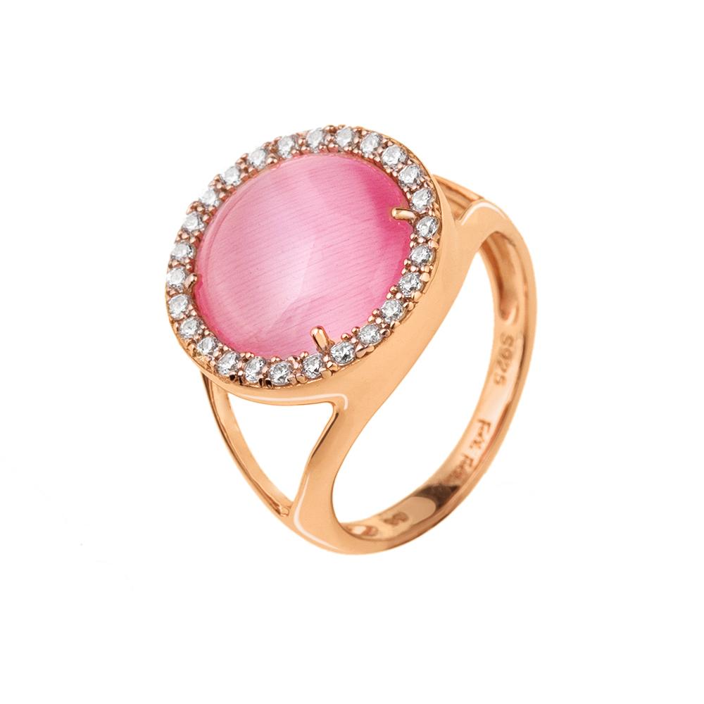 FOLLI FOLLIE - Γυναικείο επιχρυσωμένο δαχτυλίδι FOLLI FOLLIE με ροζ πέτρα και ζι γυναικεία αξεσουάρ κοσμήματα δαχτυλίδια