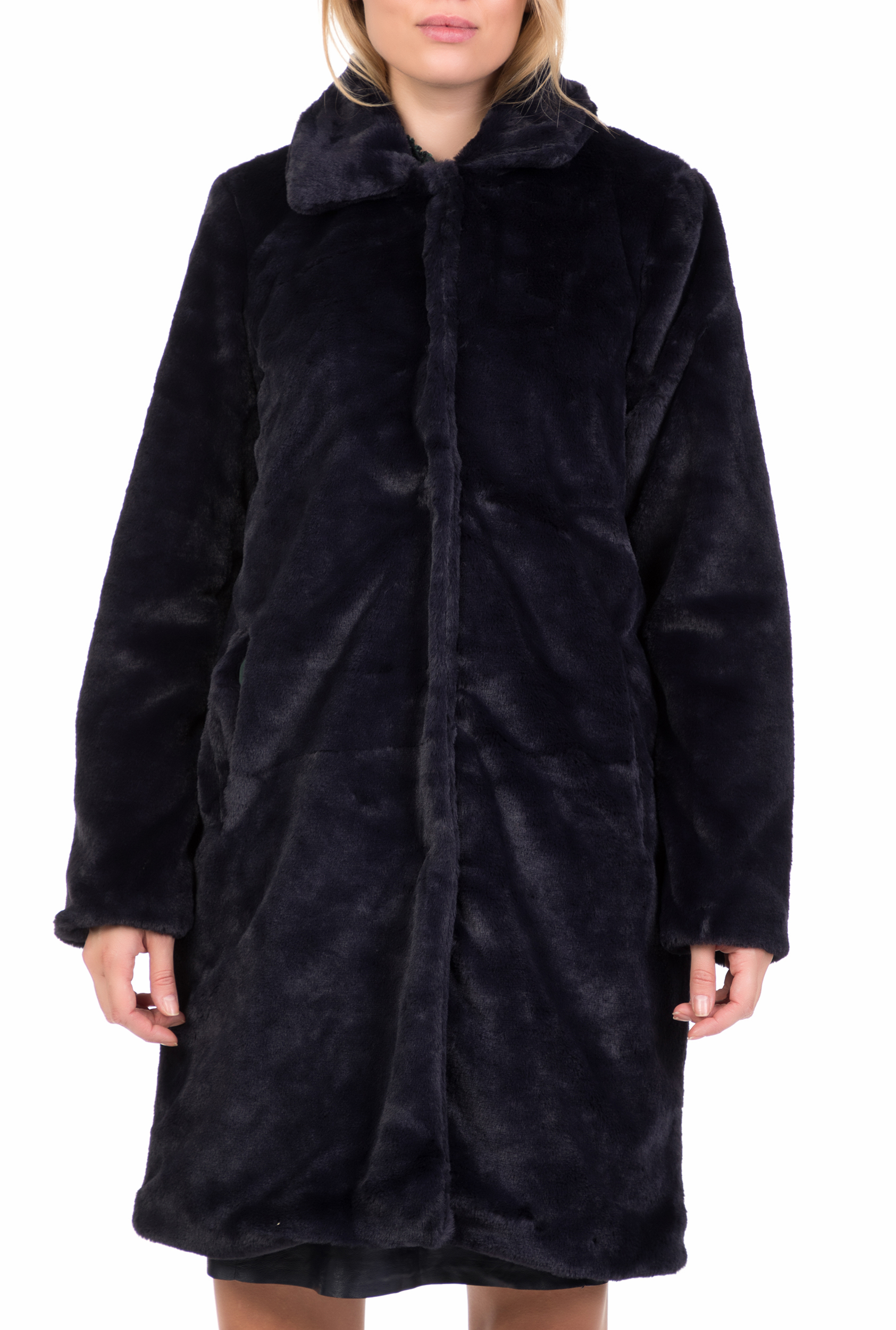 NUMPH - Γυναικείο παλτό ETAINA FUR NUMPH μπλε