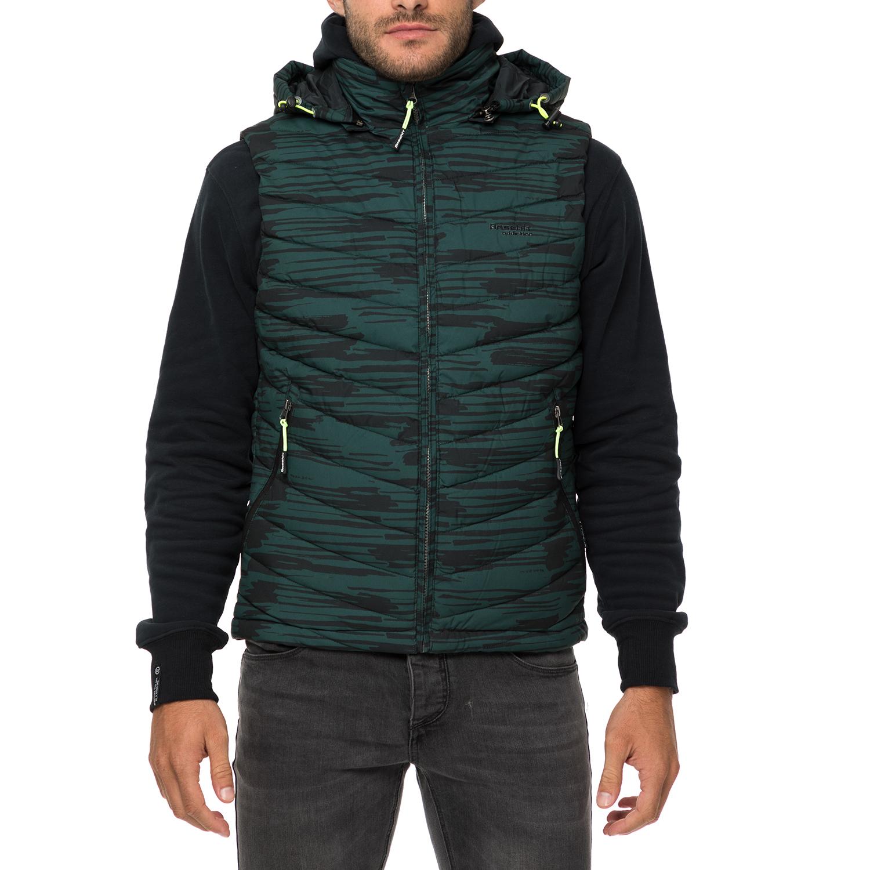 BASEHIT – Ανδρικό αμάνικο μπουφάν BASEHIT πράσινο με print 0acb1844bb1