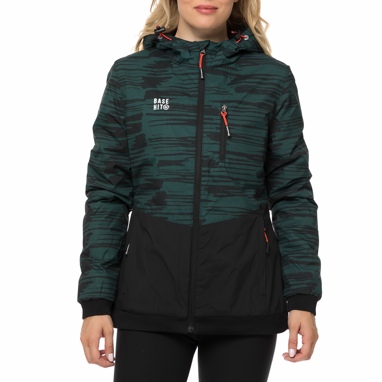 BASEHIT - Γυναικείο μπουφάν BASEHIT μαύρο-πράσινο με μοτίβο γυναικεία ρούχα πανωφόρια μπουφάν