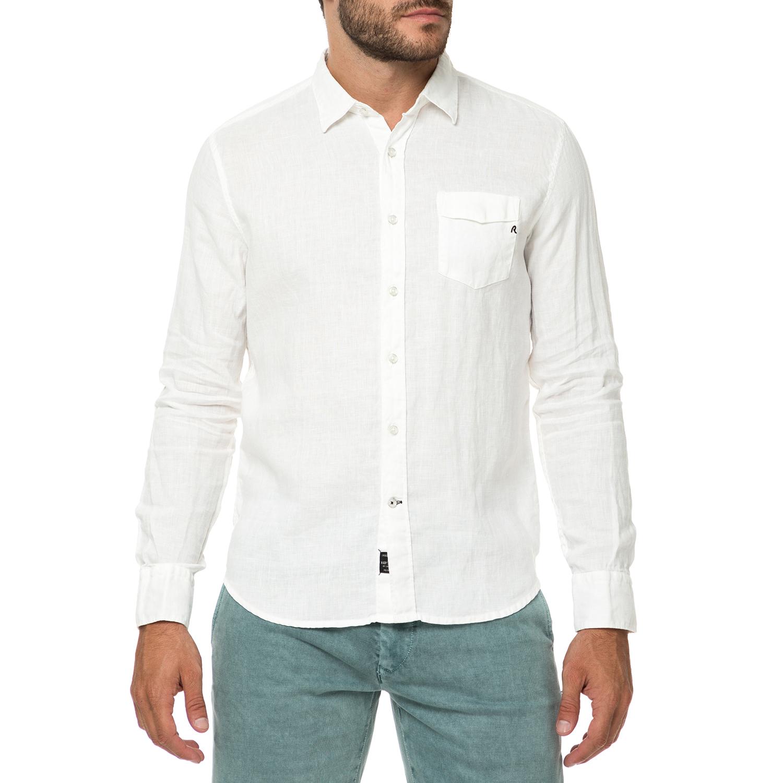 REPLAY - Ανδρικό λινό πουκάμισο REPLAY λευκό 9302f045cbf