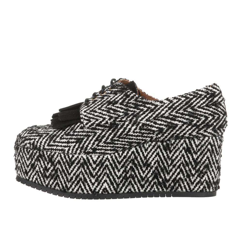 CASTANER - Γυναικεία δετά flatforms παπούτσια CASTANER HANOI ασπρόμαυρα γυναικεία παπούτσια πλατφόρμες