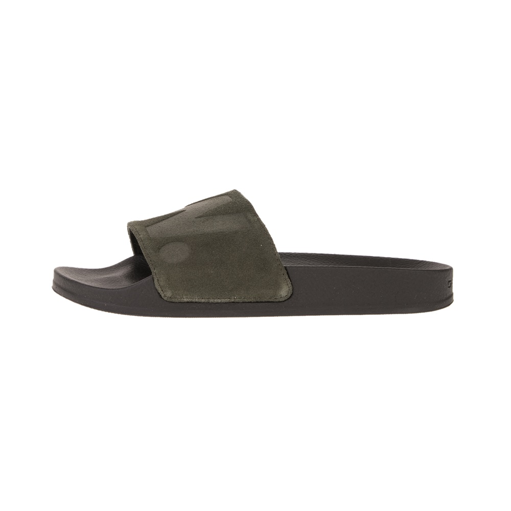 G-STAR RAW – Γυναικεία slides G-STAR RAW Cart Slide II – Suede λαδί μαύρα