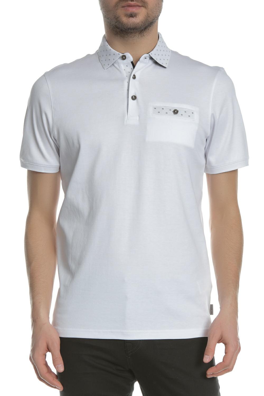 TED BAKER - Ανδρικό πόλο t-shirt TED BAKER CRITTER FLAT λευκό