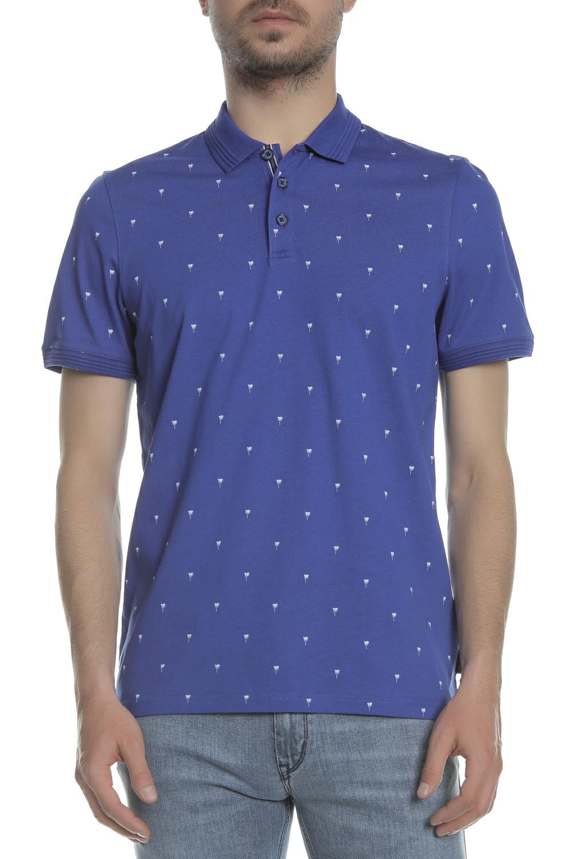 TED BAKER - Ανδρικό πόλο t-shirt TED BAKER PALM TREE μπλε