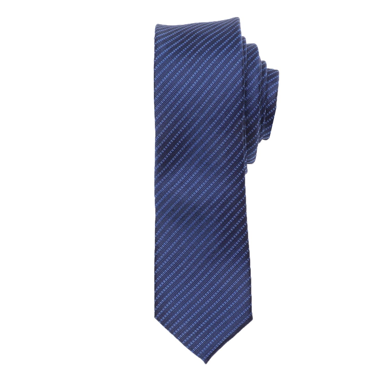 CK - Ανδρική γραβάτα CK PICKSTITCH PINSTRIPE μπλε