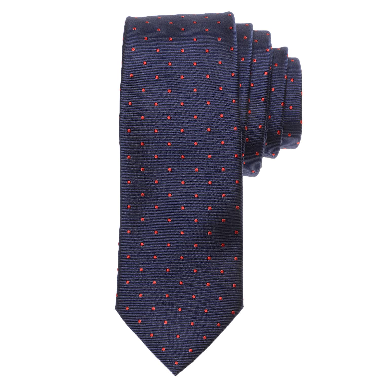 CK - Ανδρική γραβάτα CK SILK TWILL DOT μπλε κόκκινη