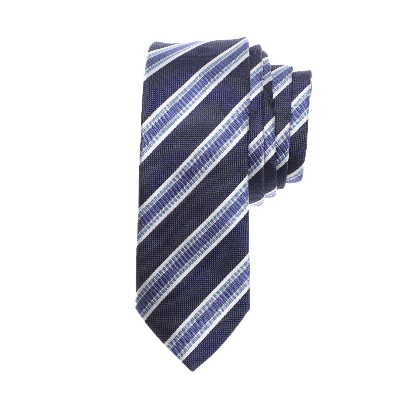 CK - Ανδρική γραβάτα CK SILK BOLD STRIPE μπλε