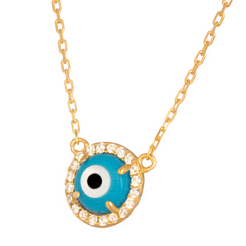 JEWELTUDE - Γυναικείο ασημένιο επίχρυσο κολιέ Κύκλος Μάτι γυναικεία αξεσουάρ κοσμήματα κολιέ