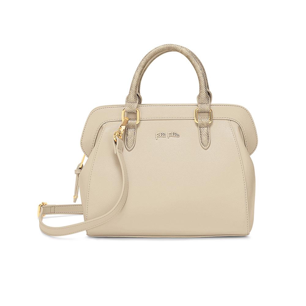 FOLLI FOLLIE - Γυναικεία τσάντα χειρός FOLLI FOLLIE εκρού γυναικεία αξεσουάρ τσάντες σακίδια χειρός