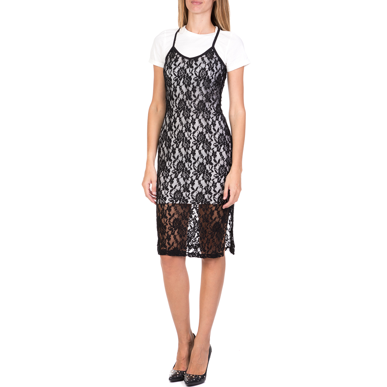 FUNKY BUDDHA – Γυναικείο midi φόρεμα με δαντέλα FUNKY BUDDHA μαύρο 7b35e77cb5c
