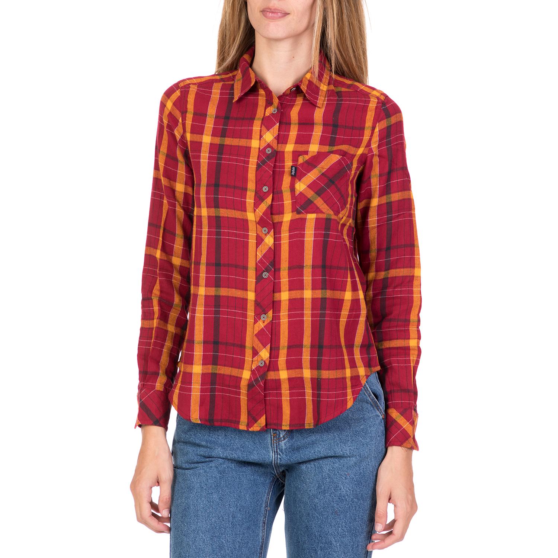 fded41c85047 FUNKY BUDDHA – Γυναικείο καρό πουκάμισο FUNKY BUDDHA κόκκινο-πορτοκαλί