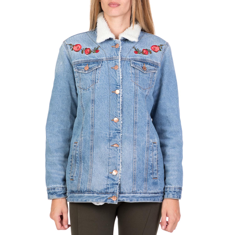 2e111f53188e FUNKY BUDDHA – Γυναικείο τζιν μπουφάν με κεντήματα FUNKY BUDDHA γαλάζιο