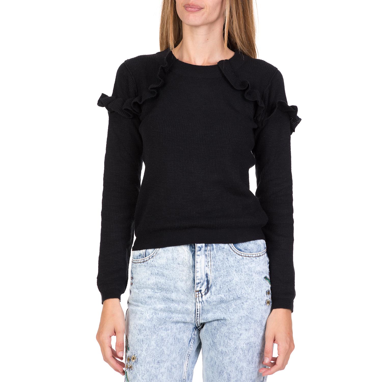 FUNKY BUDDHA - Γυναικεία πλεκτή μπλούζα με βολάν FUNKY BUDDHA μαύρη