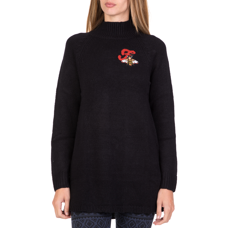 424fd9b85269 FUNKY BUDDHA – Γυναικείο πουλόβερ με ζιβάγκο FUNKY BUDDHA μαύρο. Factory  Outlet