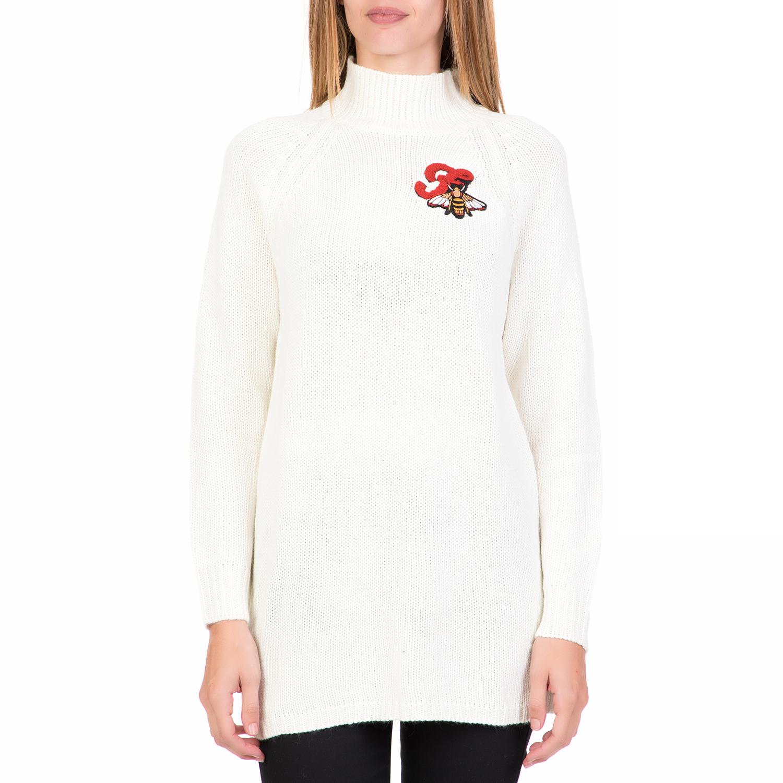 4995a6215863 FUNKY BUDDHA – Γυναικείο πουλόβερ με ζιβάγκο FUNKY BUDDHA λευκό. Factory  Outlet