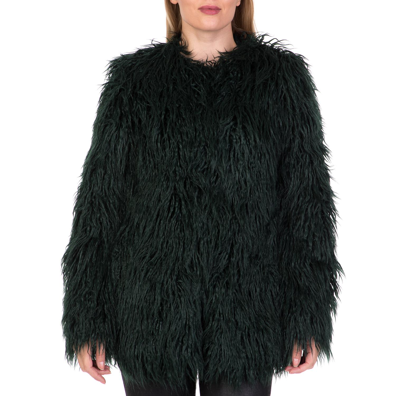 FUNKY BUDDHA - Γυναικείο γούνινο παλτό FUNKY BUDDHA κυπαρισσί γυναικεία ρούχα πανωφόρια παλτό