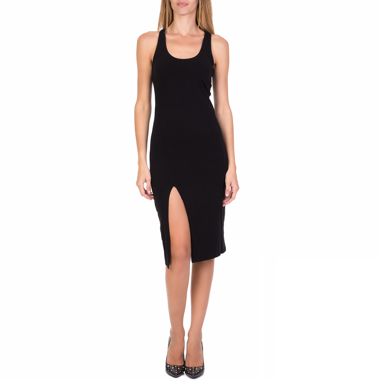 FUNKY BUDDA - Γυναικείο midi φόρεμα FUNKY BUDDHA μαύρο γυναικεία ρούχα φορέματα μέχρι το γόνατο