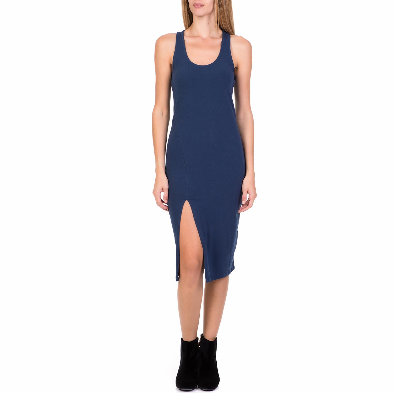 FUNKY BUDDHA - Γυναικείο midi φόρεμα FUNKY BUDDHA μπλε γυναικεία ρούχα φορέματα μέχρι το γόνατο