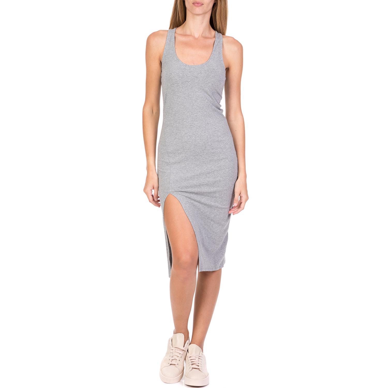 FUNKY BUDDHA - Γυναικείο midi φόρεμα FUNKY BUDDHA γκρι γυναικεία ρούχα φορέματα μέχρι το γόνατο
