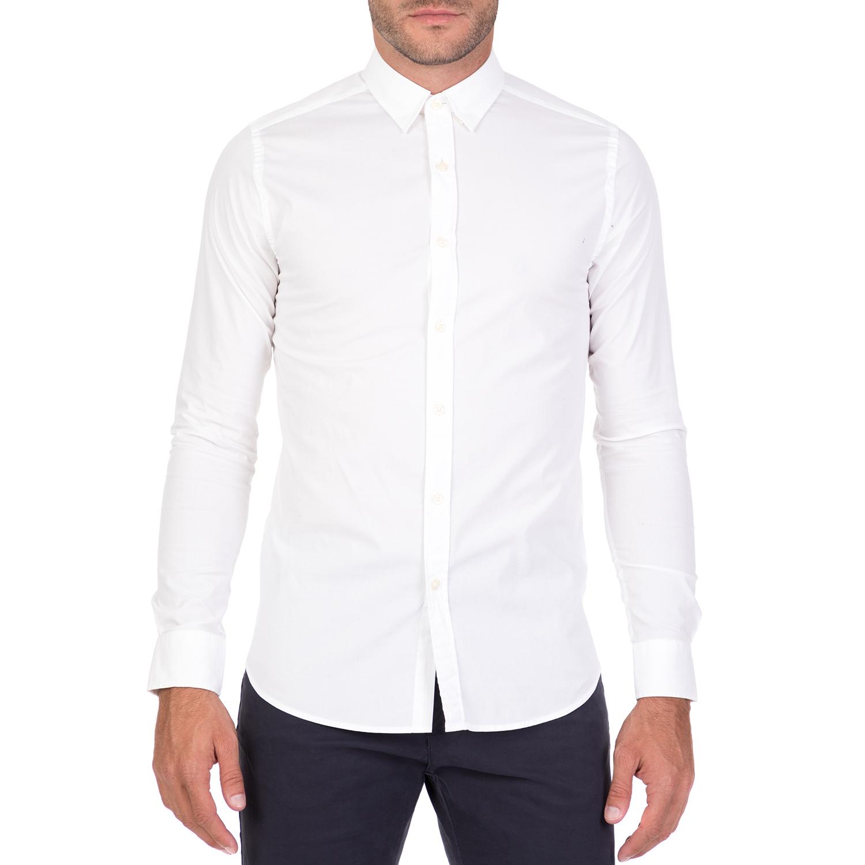 4d4ac8500073 FUNKY BUDDHA – Ανδρικό μακρυμάνικο πουκάμισο FUNKY BUDDHA λευκό  1712251.0-9000