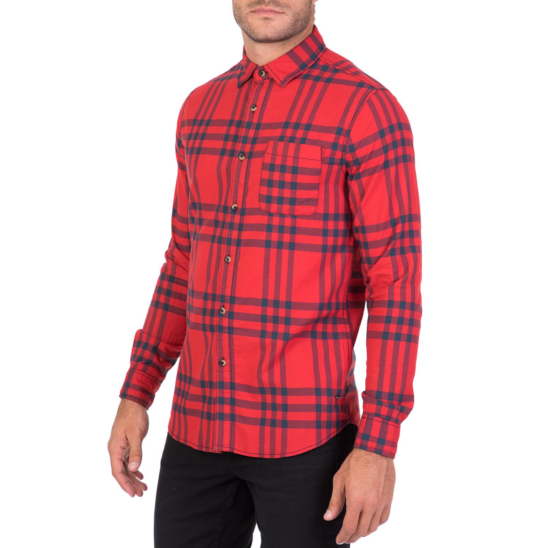 2e54c838fcf2 FUNKY BUDDHA - Ανδρικό μακρυμάνικο καρό πουκάμισο FUNKY BUDDHA κόκκινο