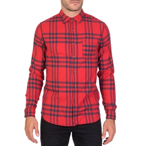 FUNKY BUDDHA. Ανδρικό μακρυμάνικο καρό πουκάμισο FUNKY BUDDHA κόκκινο a16c6398a38