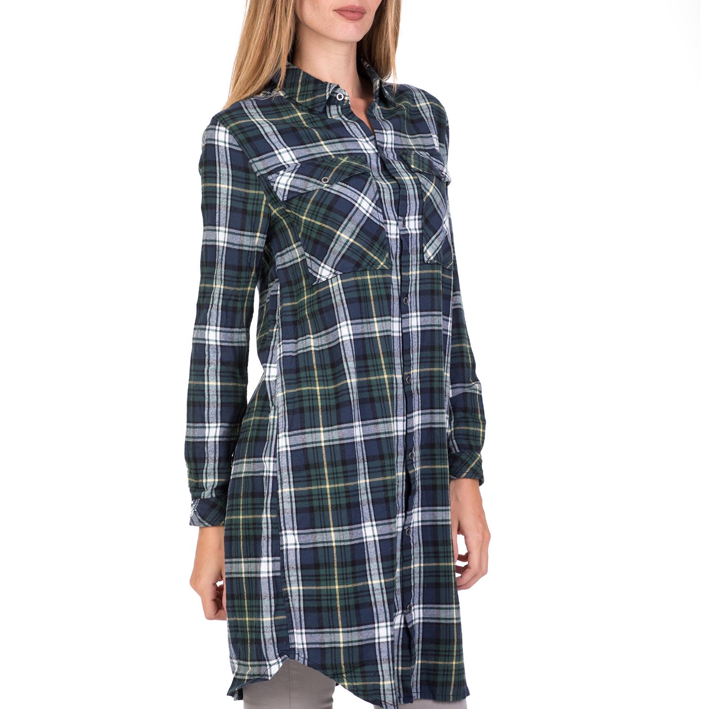 ceb48b717076 FUNKY BUDDHA - Γυναικείο μακρύ καρό πουκάμισο FUNKY BUDDHA μπλε-πράσινο