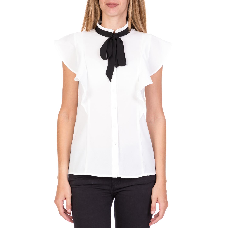 FUNKY BUDDHA - Γυναικείο αμάνικο πουκάμισο με βολάν FUNKY BUDDHA λευκό γυναικεία ρούχα πουκάμισα κοντομάνικα αμάνικα