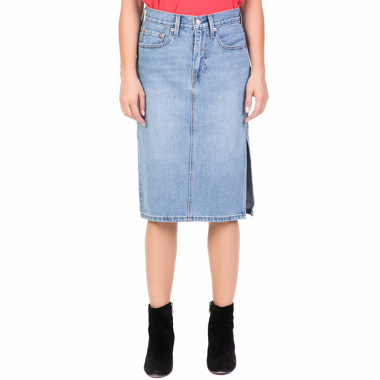 0404307191ba LEVI S - Γυναικεία τζιν midi φούστα LEVI S SIDE SLIT μπλε ...